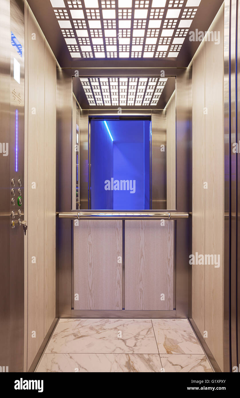 Details of a modern elevator, interior design