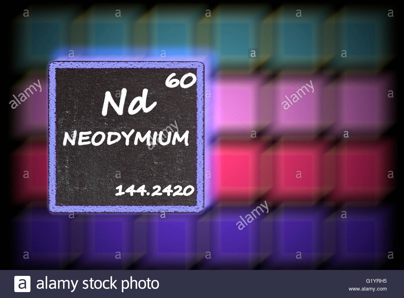 Neodymium details from the periodic table stock photo royalty neodymium details from the periodic table gamestrikefo Choice Image
