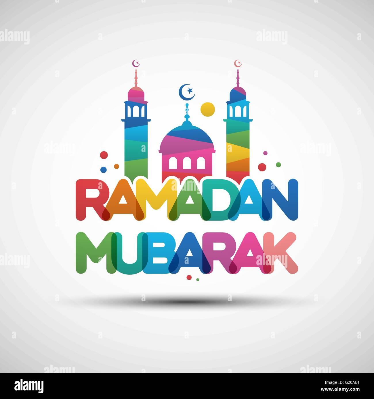 Eid mubarak greeting card typography stock photos eid mubarak vector illustration of ramadan mubarak greeting card design with creative multicolored transparent text stock kristyandbryce Images