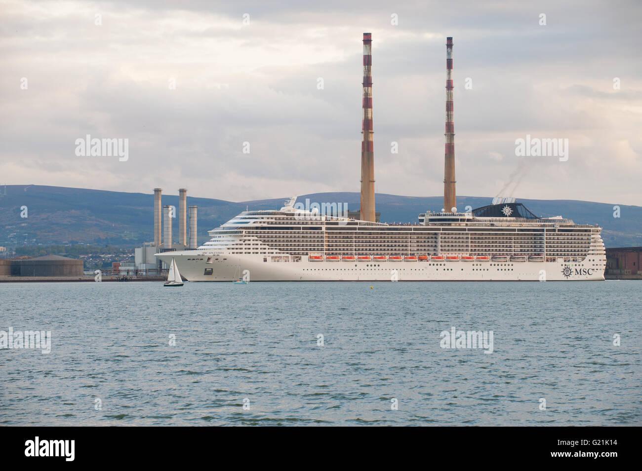 Large Cruise Ship MSC Splendida Leaving Dublin Port Ireland May - Cruise ship ireland