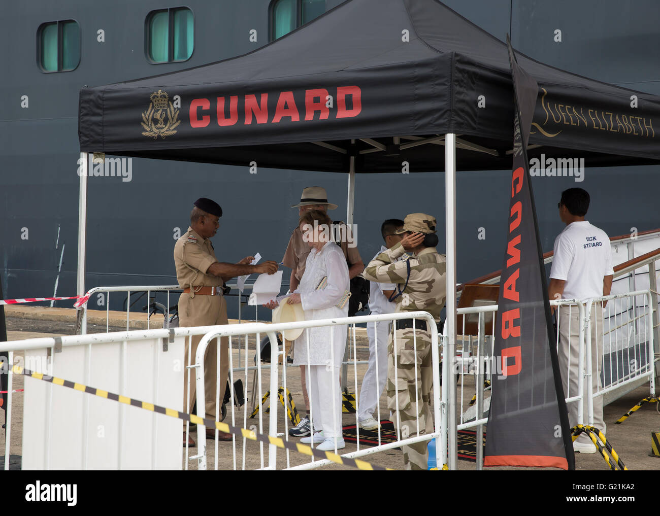 Cunard Gazebo Covers The Security Staff By Queen Elizabeth Cruise - Staff on a cruise ship