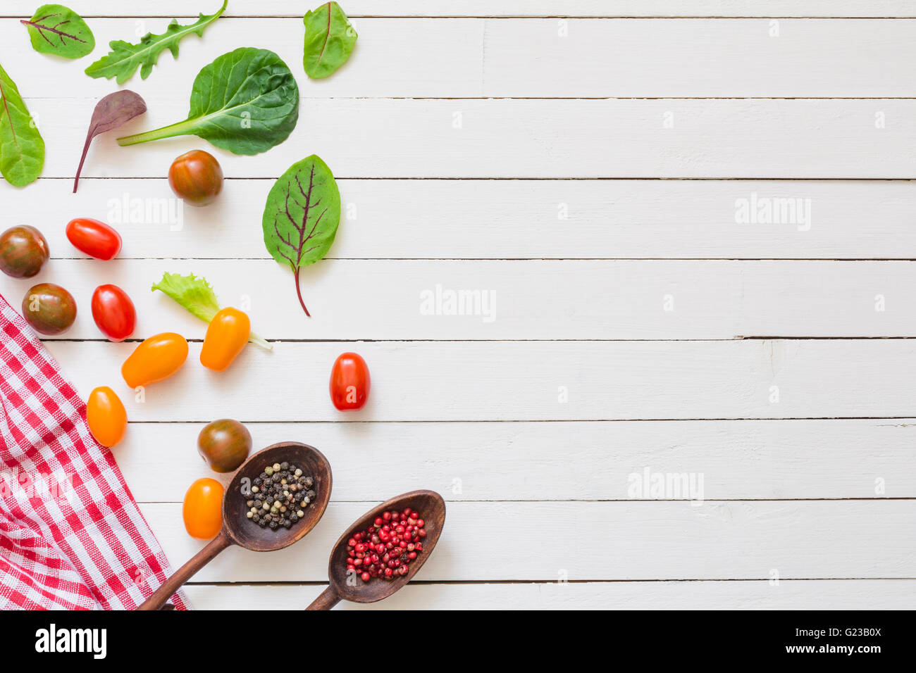 Vegetables spices and cooking utensils on white wooden background vegetables spices and cooking utensils on white wooden background mock up for recipes cook book food background forumfinder