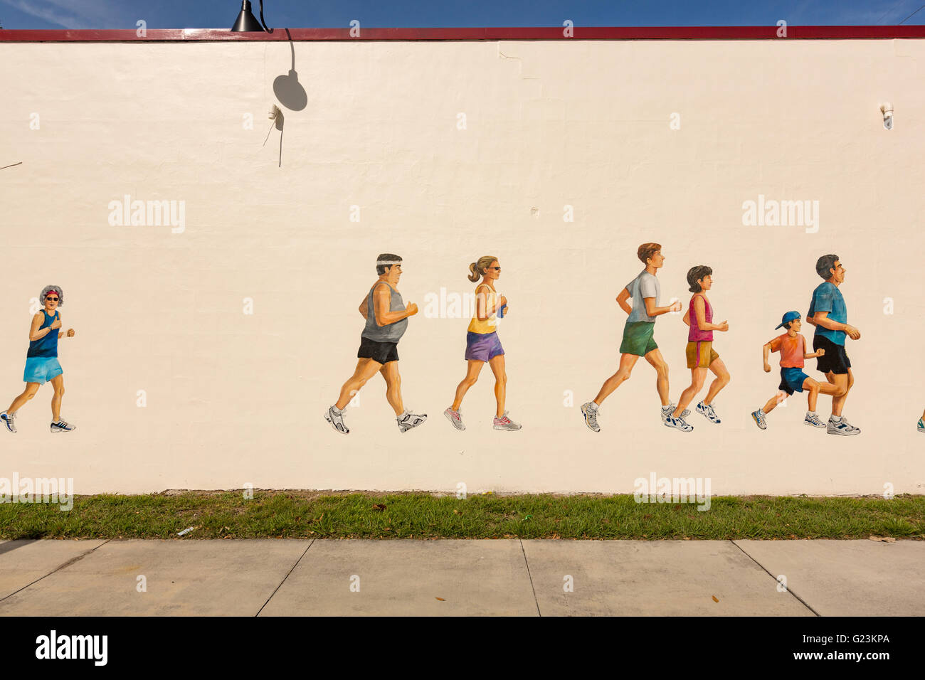 painted wall mural of runners at track shack sports store in painted wall mural of runners at track shack sports store in trendy colonialtown north in orlando florida