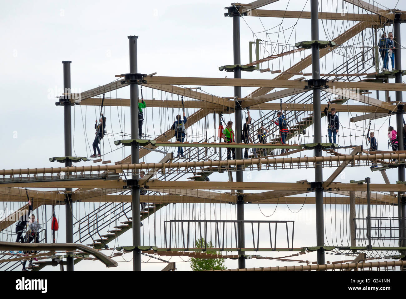 People Enjoying The Challenge Of Climbing On The Air Trail Visitor Stock Photo Royalty Free ...
