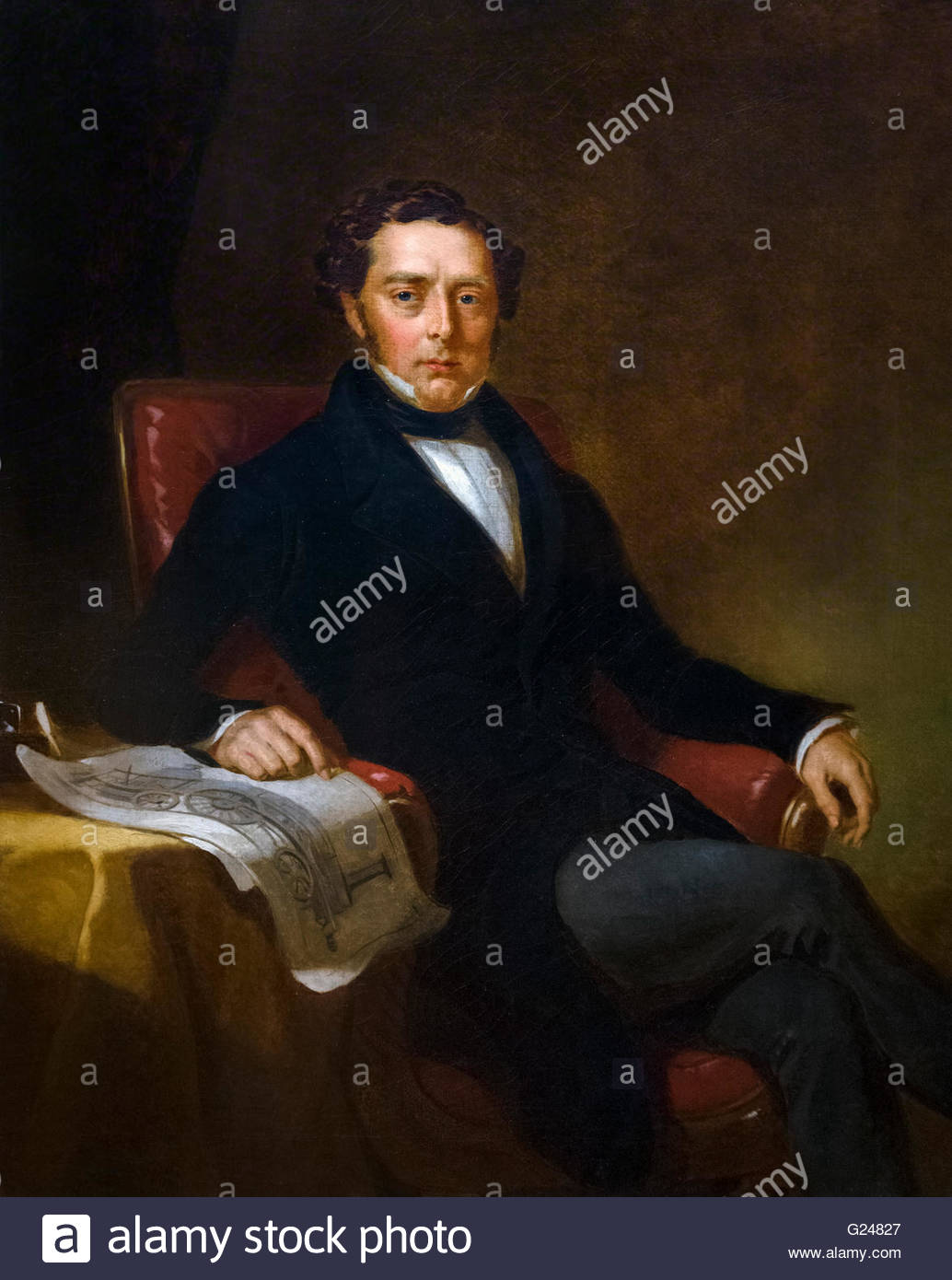 Robert Stephenson 1803 1859 portrait by John Lucas oil on