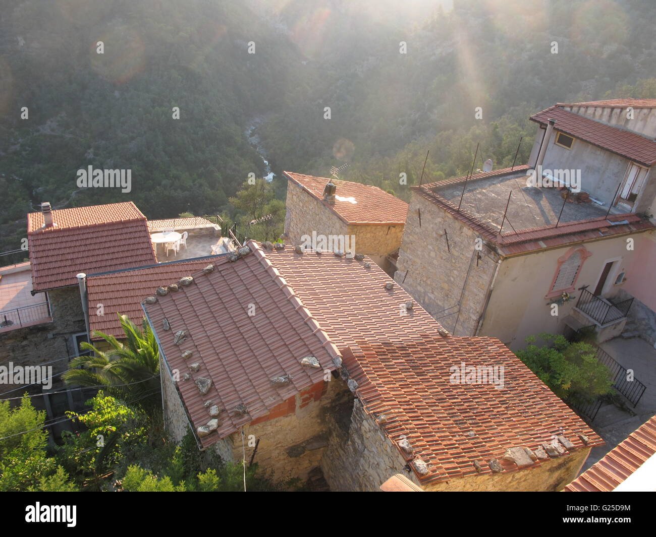 Italy Colabassa Clay Tile Roofs Of Village Houses This