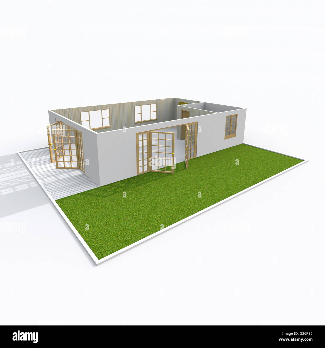 3d interior rendering oblique view of empty home apartment with