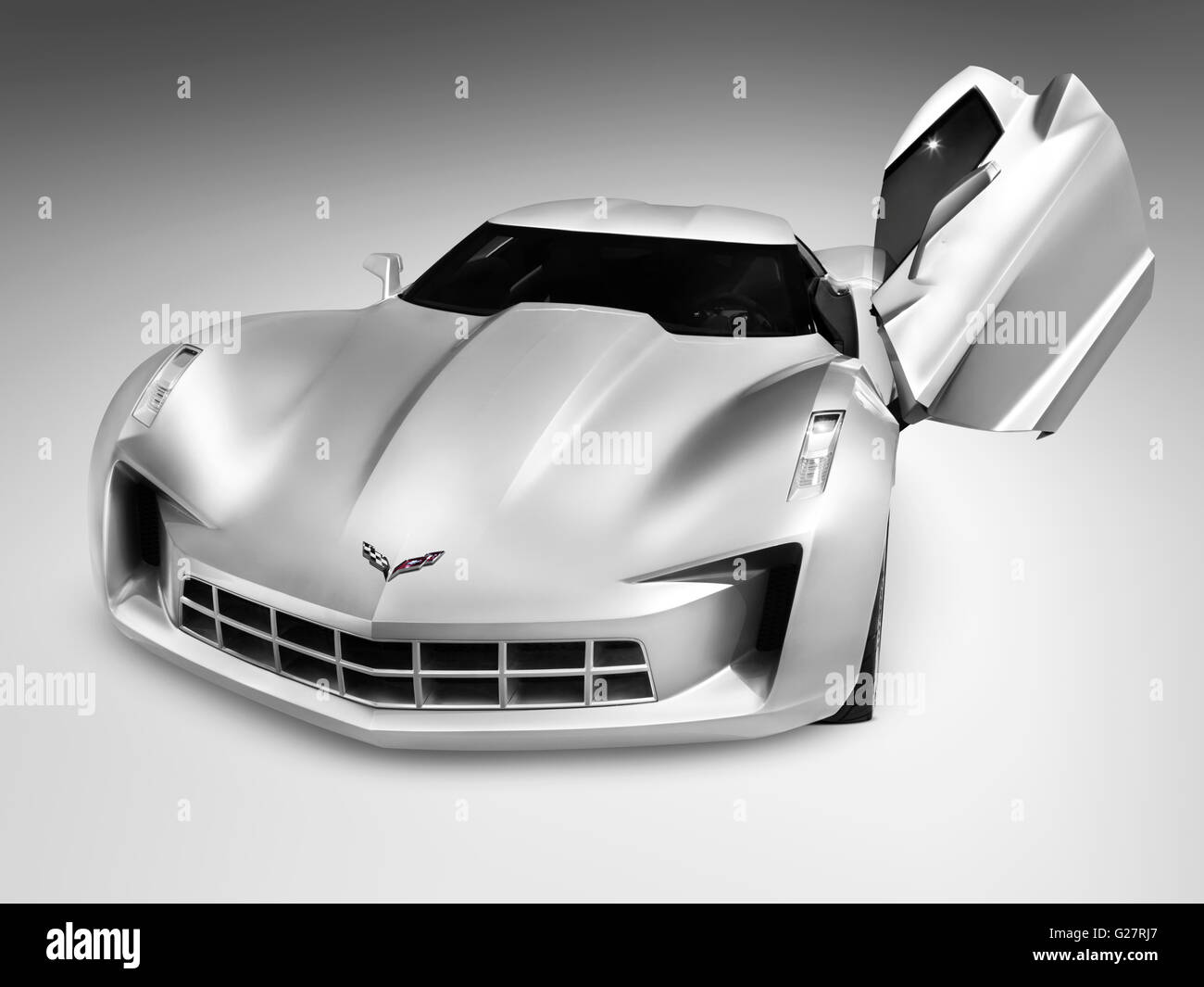 Silver Chevrolet Corvette Stingray a concept sports car with butterfly doors & Silver Chevrolet Corvette Stingray a concept sports car with ... pezcame.com