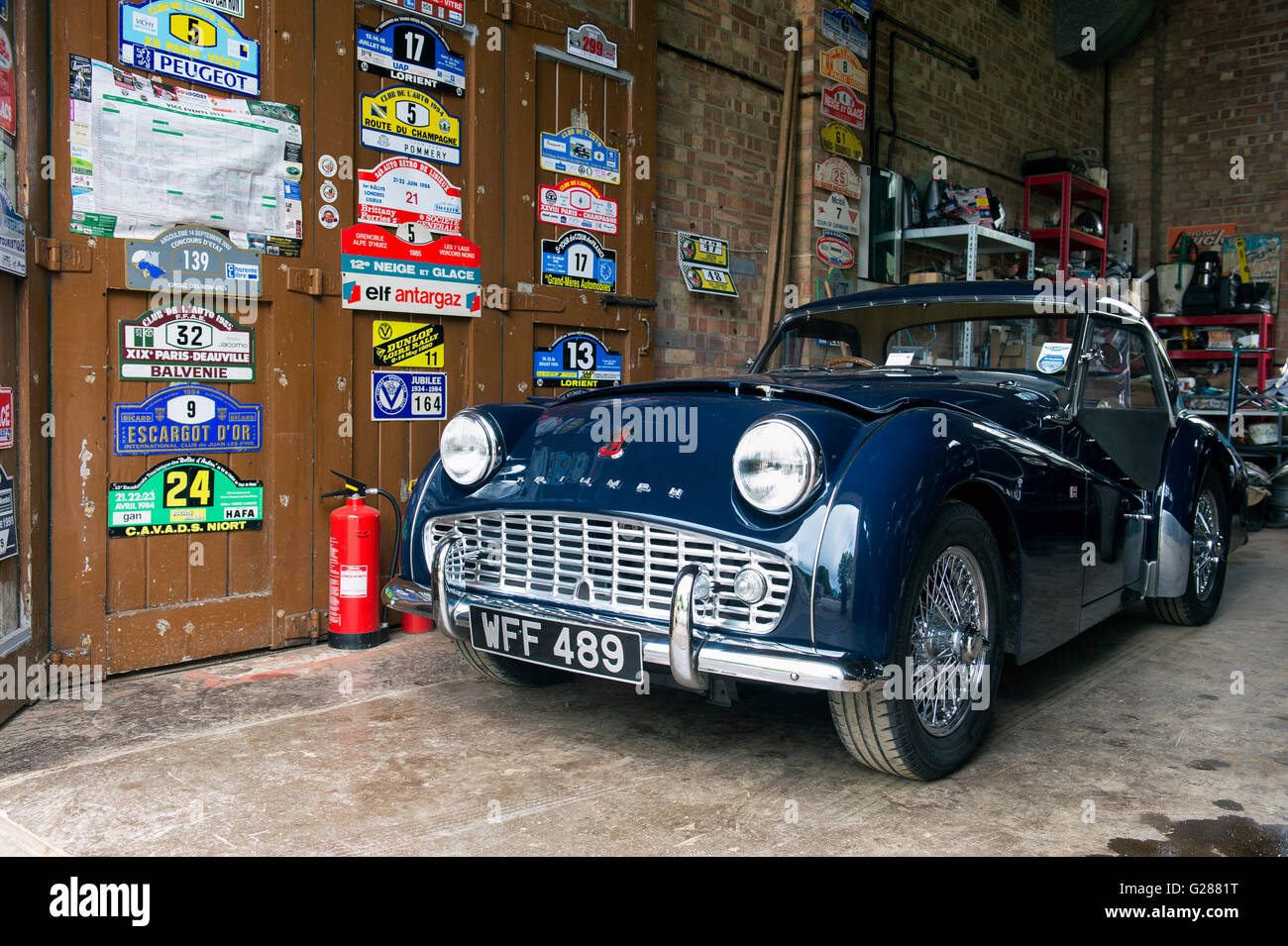 1958 Triumph Tr3 Classic Car In A Garage At Bicester Heritage