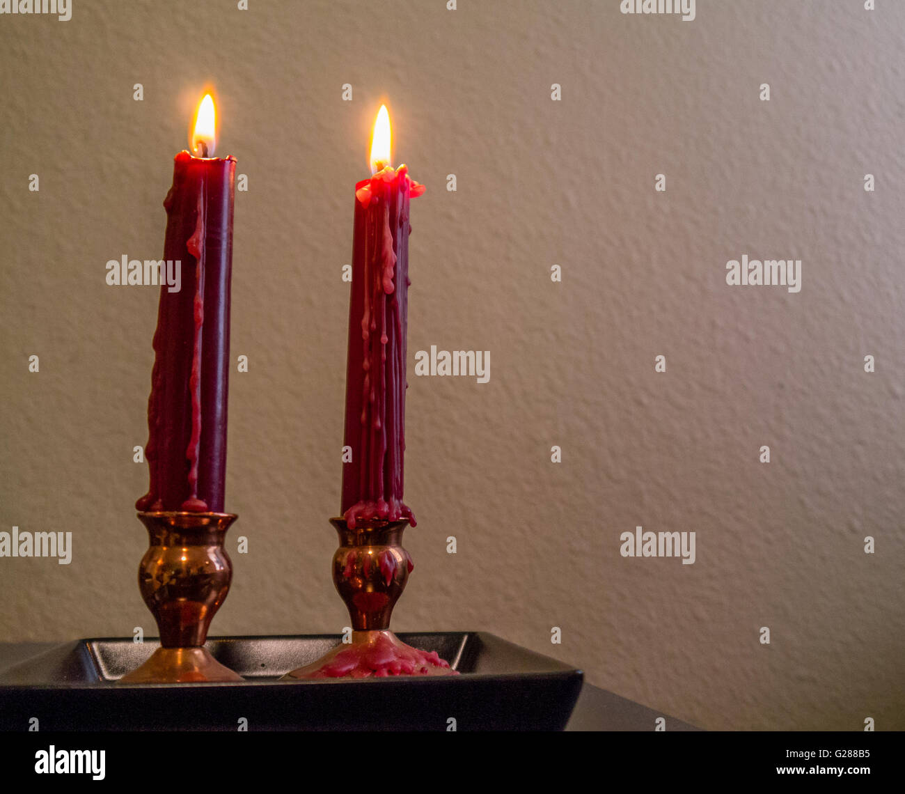 Taper Candles In Copper Candle Holders