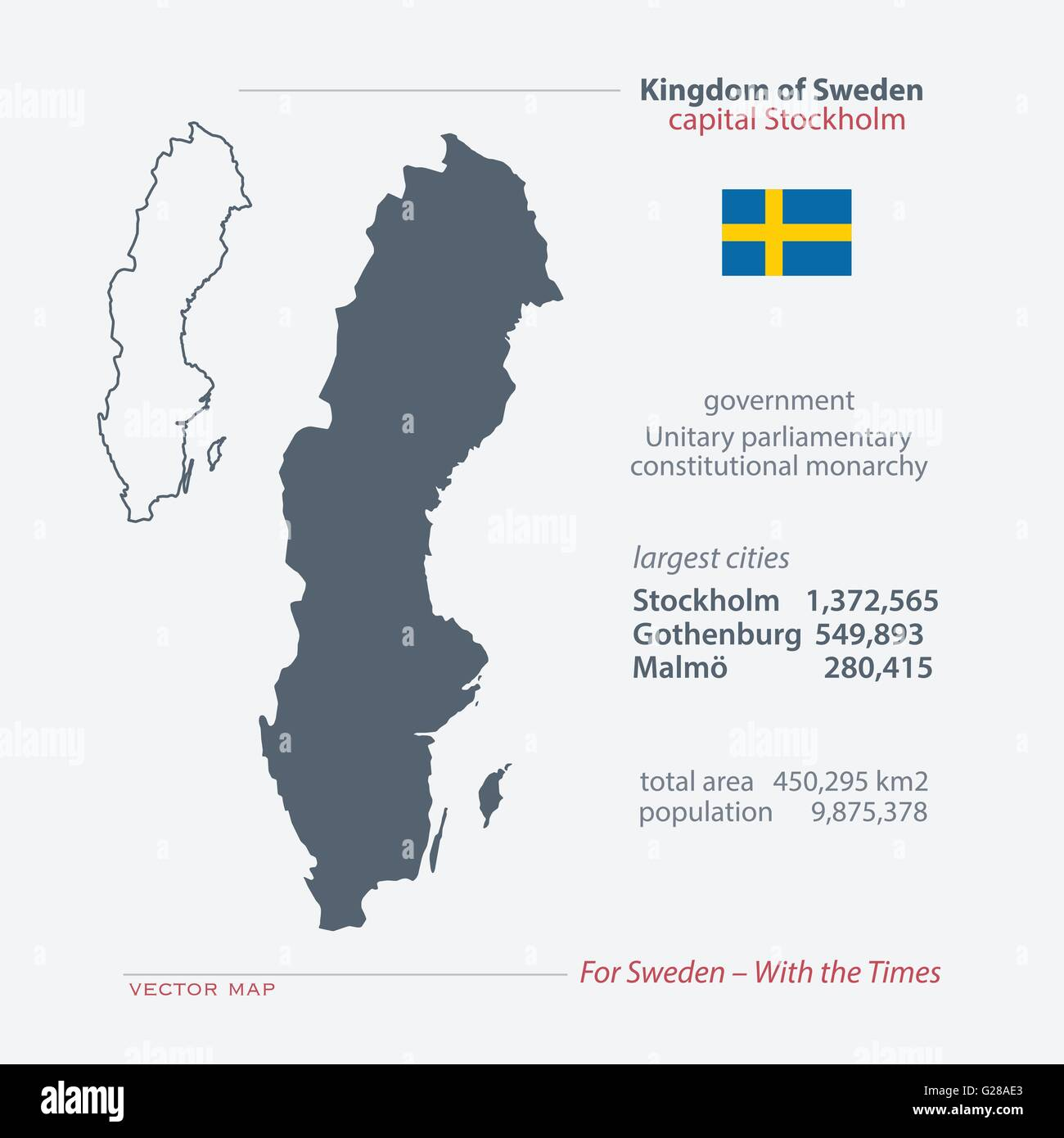 Kingdom Of Sweden Isolated Maps And Official Flag Icon Vector - Sweden map population