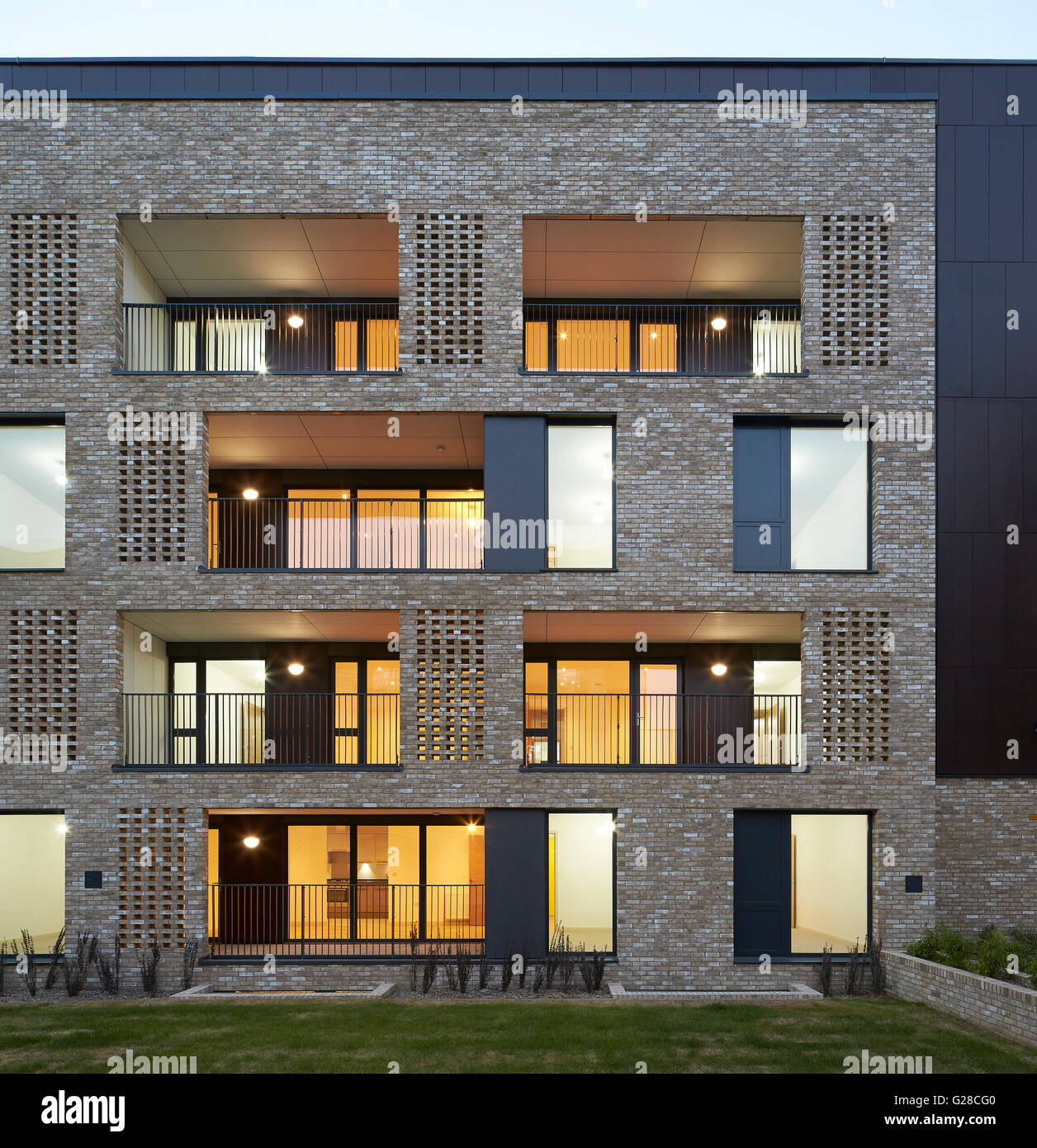 Front Elevation Red Bricks : Front facade elevation made of brick at dusk alpine place