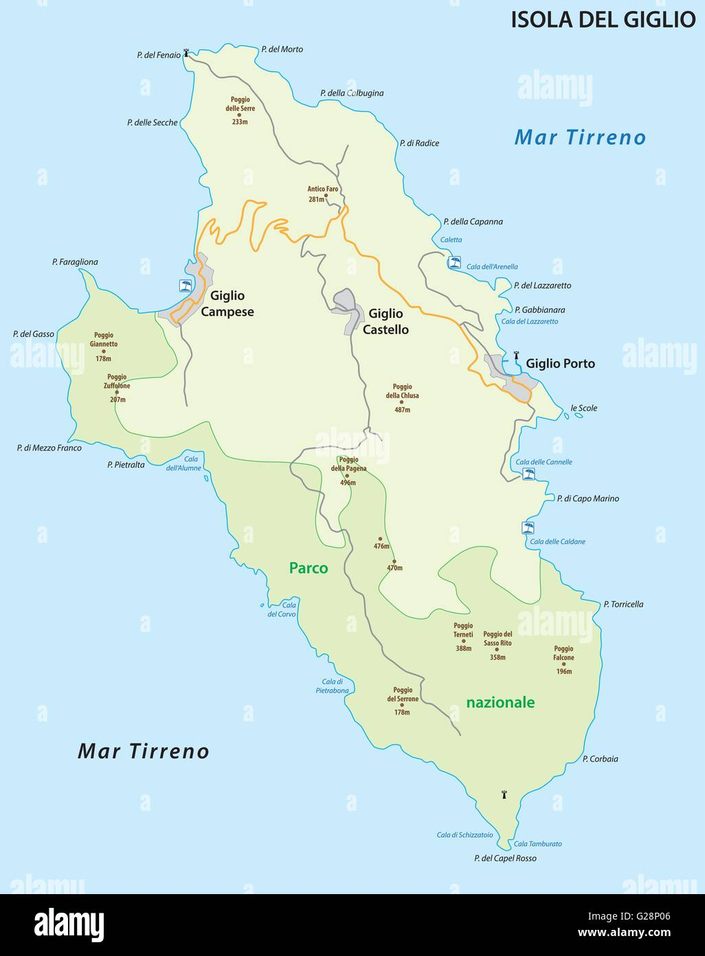 vector map of the italian island of giglio in the tyrrhenian sea