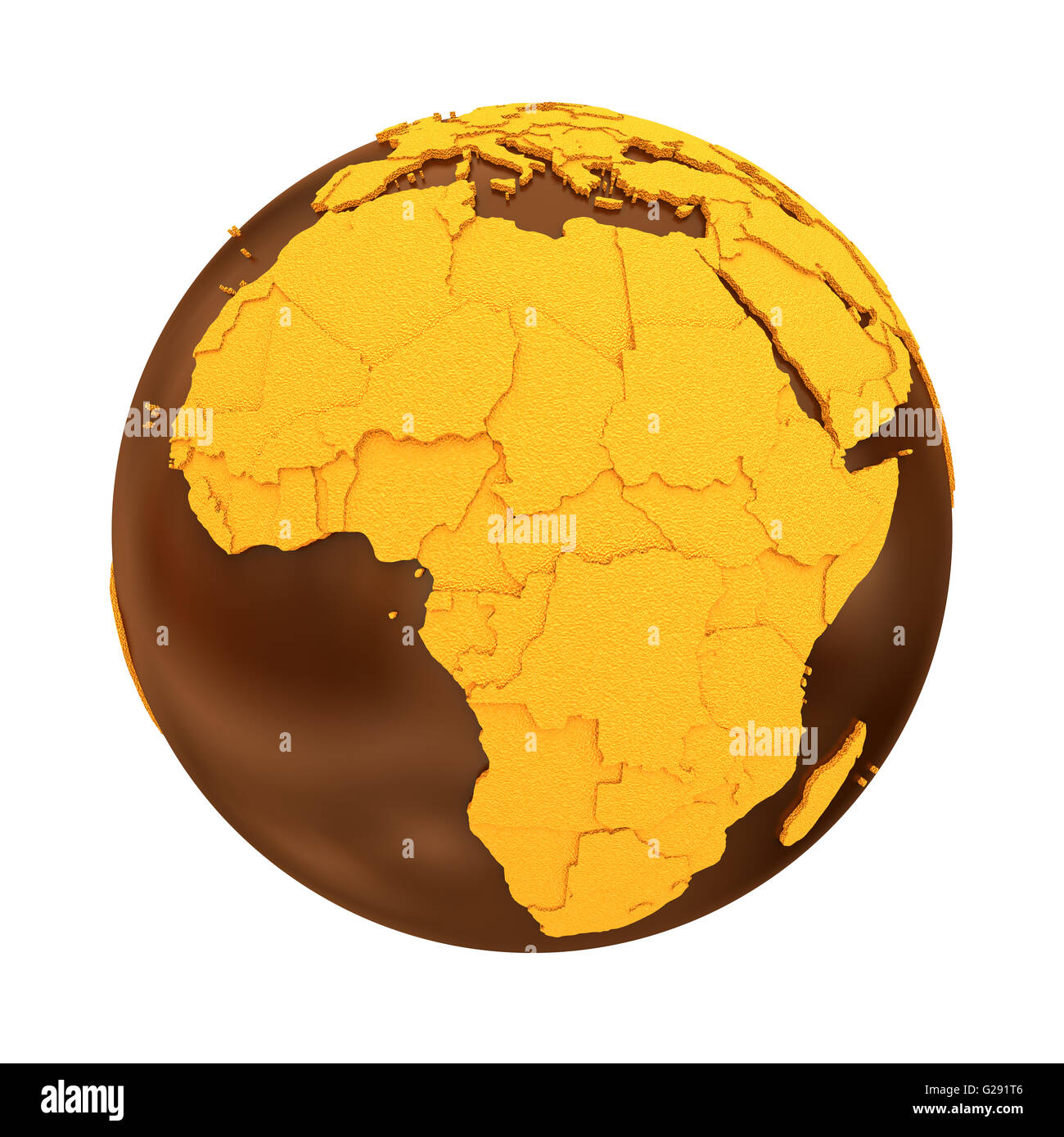 Africa on chocolate model of planet Earth. Sweet crusty continents ...