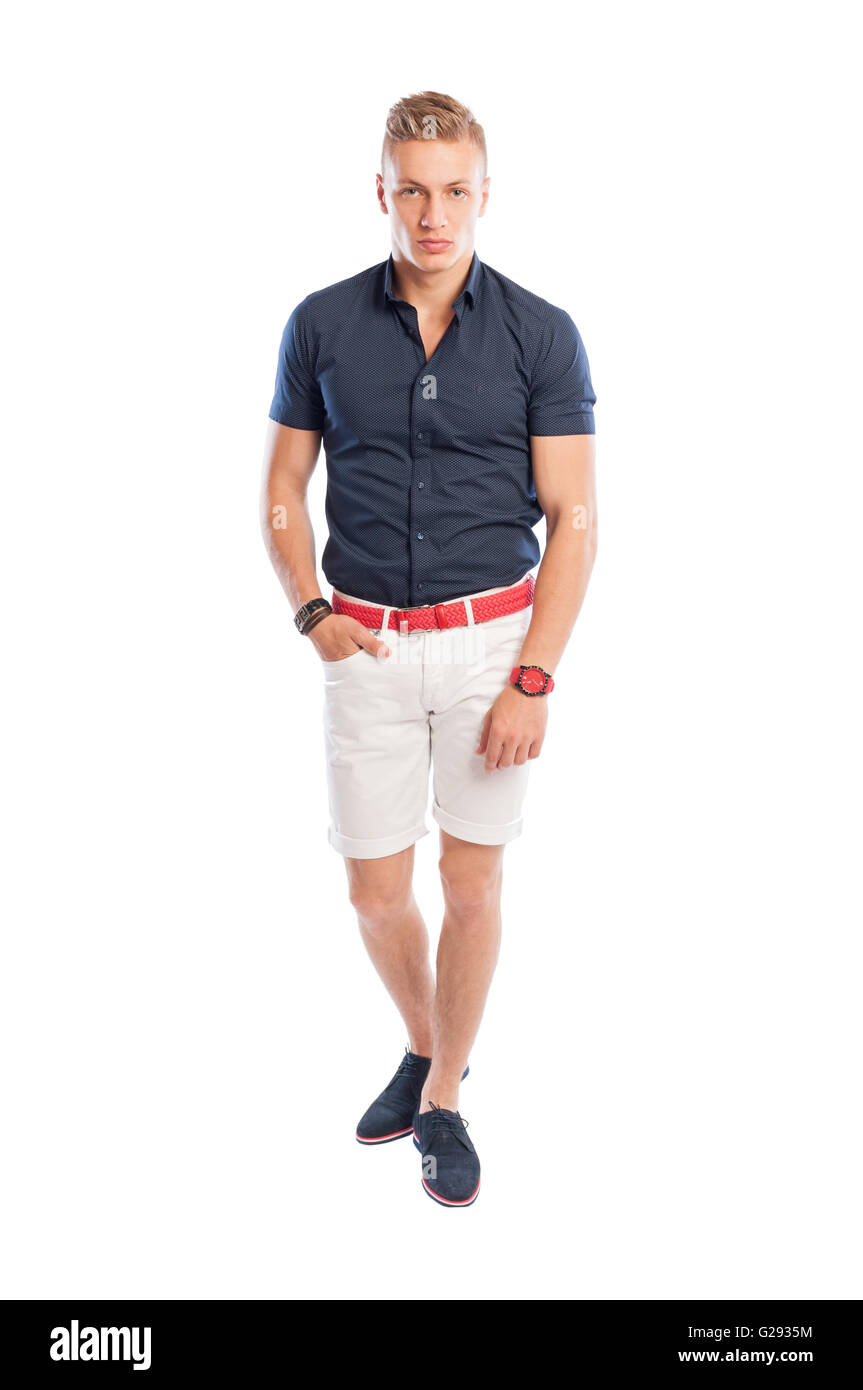 fashion guy wearing summer clothes white short pants and. Black Bedroom Furniture Sets. Home Design Ideas
