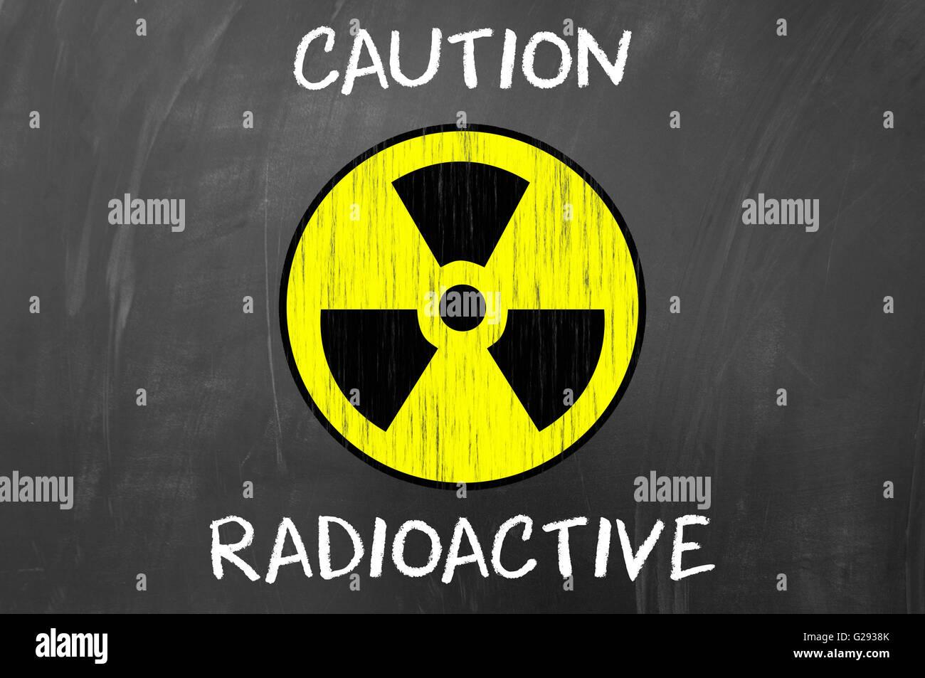 Caution radioactive symbol concept on blackboard stock photo caution radioactive symbol concept on blackboard buycottarizona