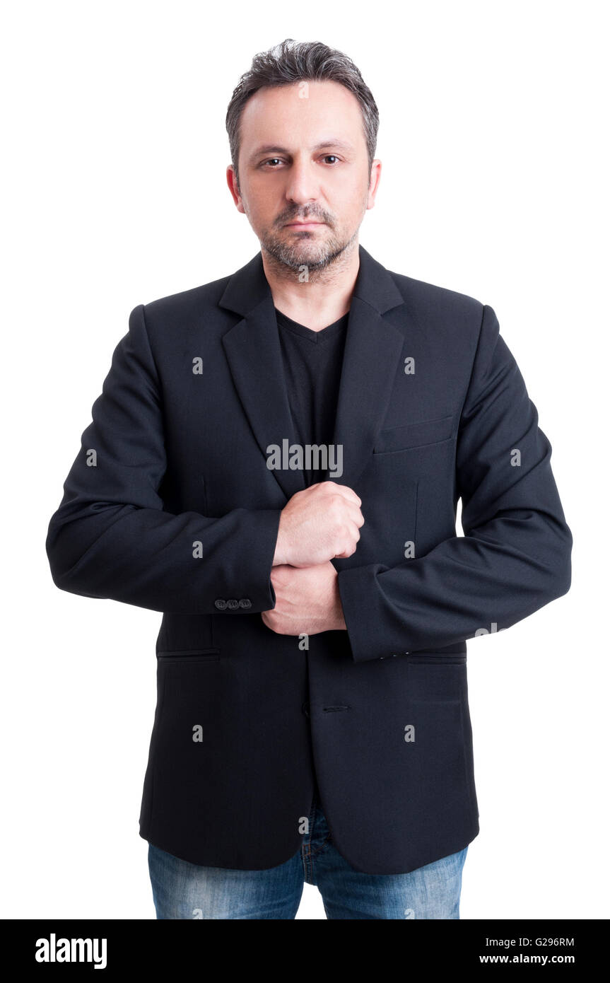 Black t shirt with suit - Casual Man Wearing Suit Jacket And Black T Shirt On White Background