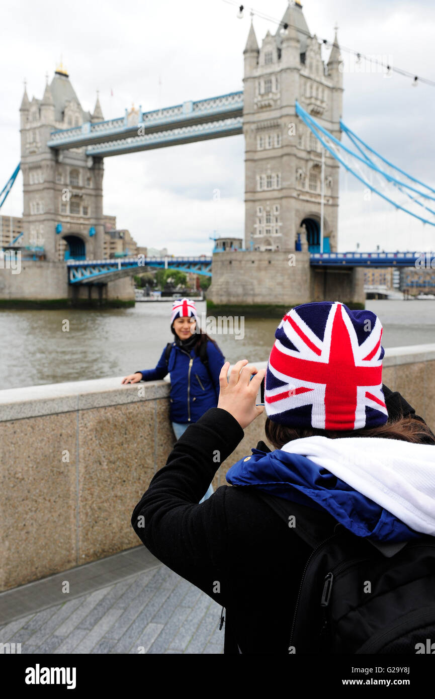 GREAT BRITAIN London Tower bridge and Union Jack flag Stock