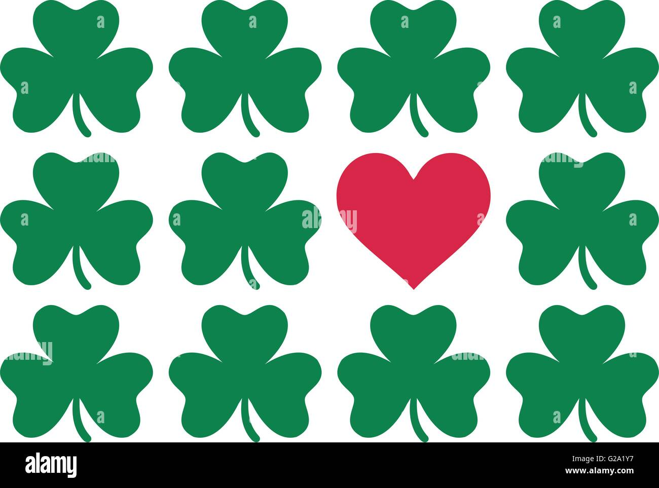 clover pattern with one red heart st patrick u0027s day love stock