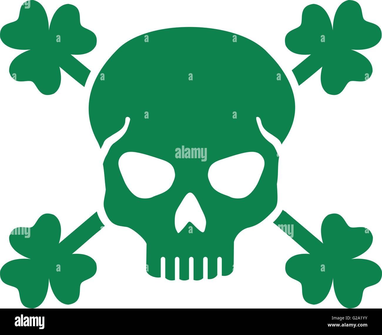 Green st patricks day skull with clovers stock vector art green st patricks day skull with clovers biocorpaavc