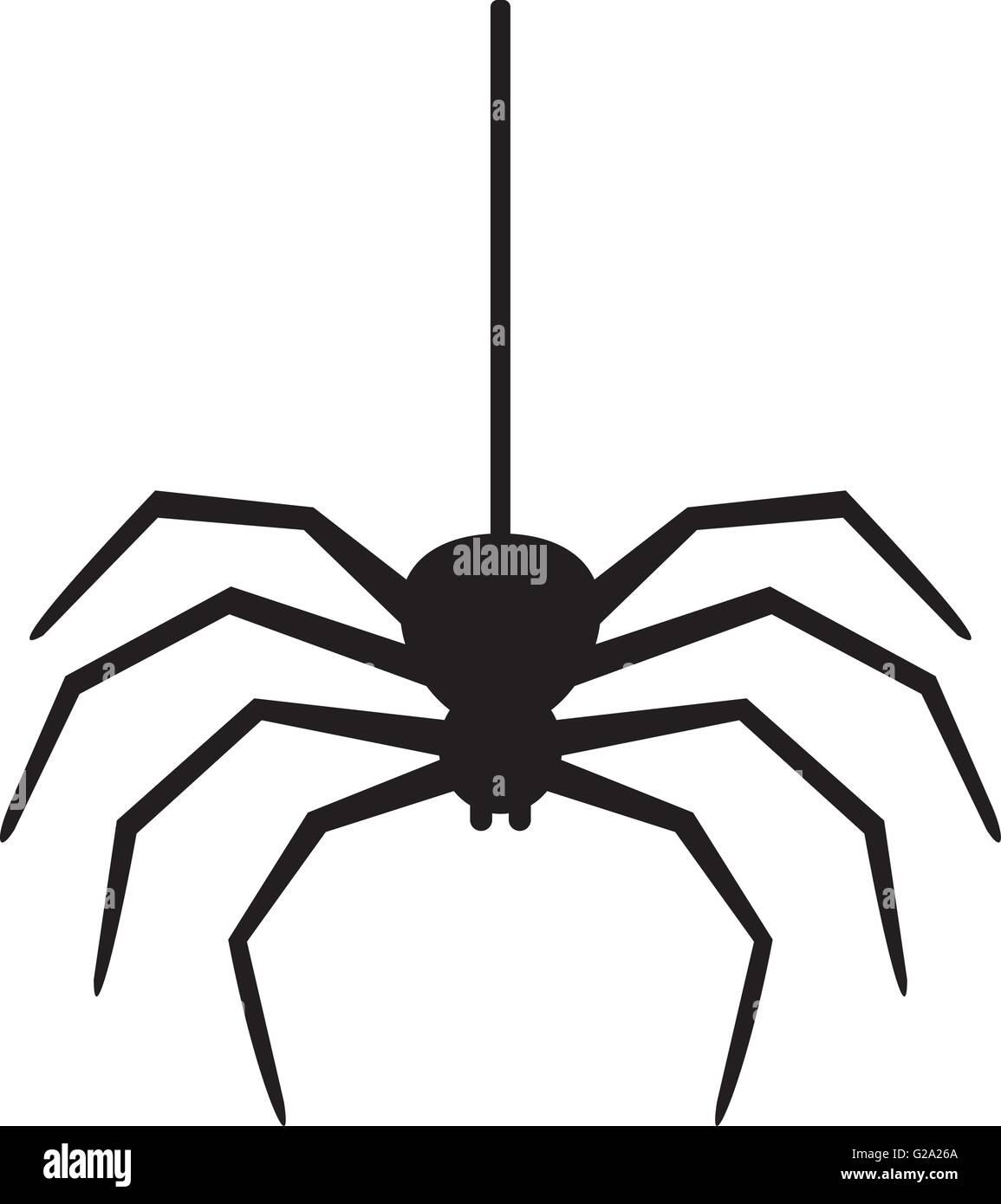 Spider hanging on a thread Stock Vector Art & Illustration ...