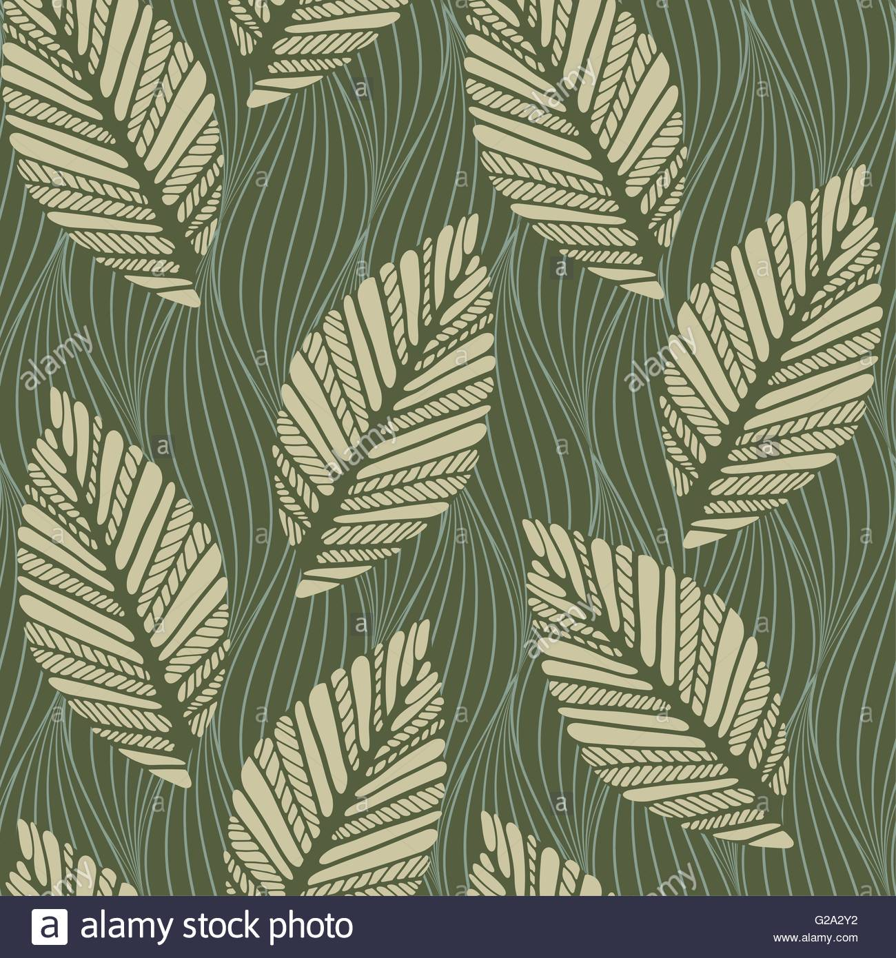 a seamless pattern tile with stylized leaves sliding on ...