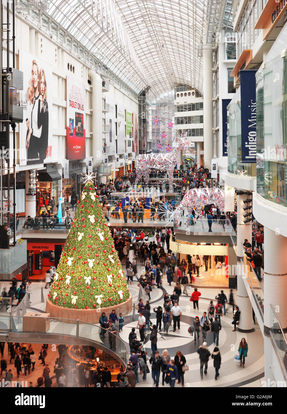 Eaton Centre, Crowded Shopping Mall With Christmas Decoration, Toronto,  Ontario, Canada