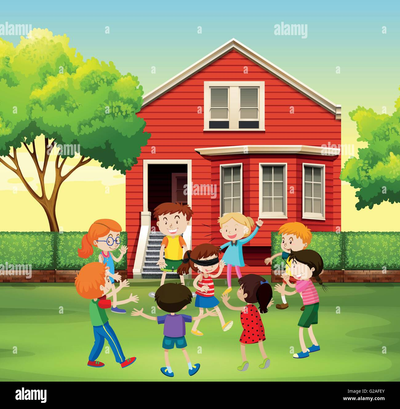 children playing game in the yard illustration stock vector art