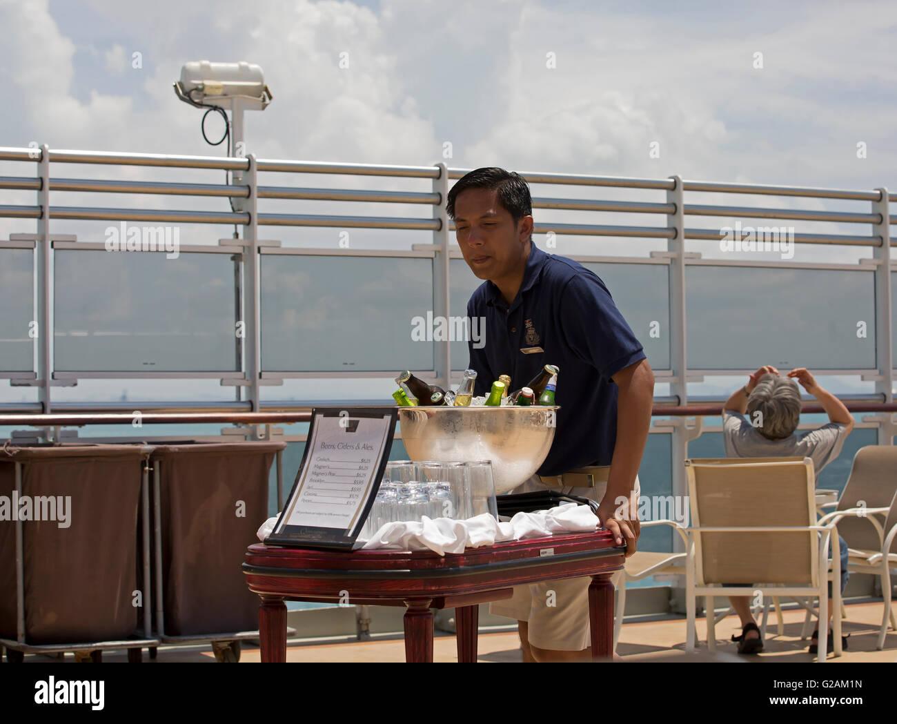 Bar Steward Pushes Drinks Around On Board Cunards Queen Elizabeth - Steward cruise ship