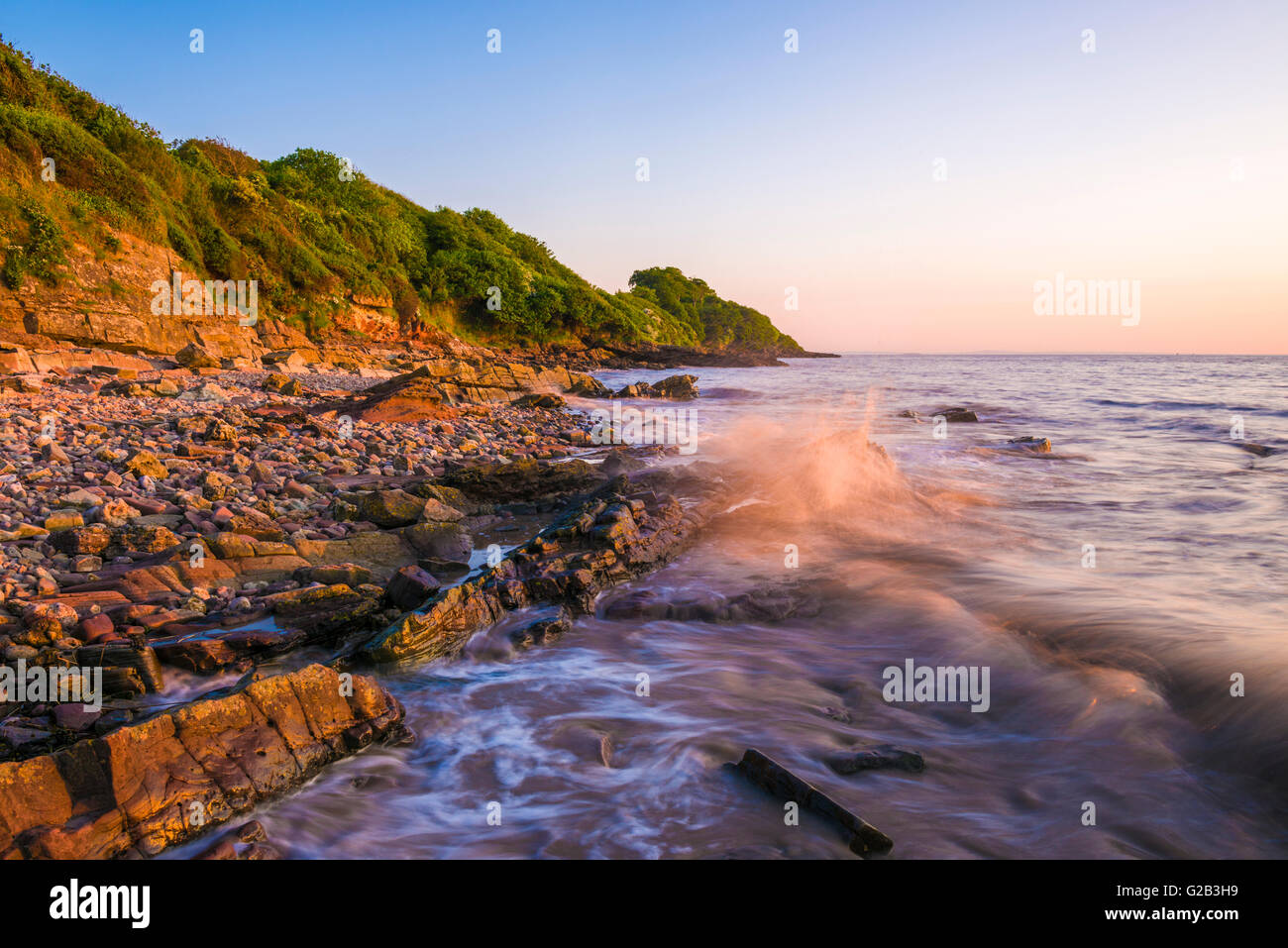 The Beach At Black Nore In The Severn Estuary At Sunset Portishead North Somerset England