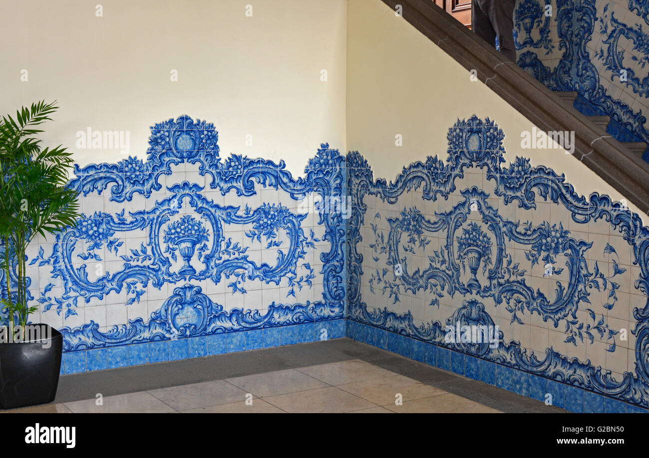 Blue patterned ceramic wall tiles in hallway of the town hall in blue patterned ceramic wall tiles in hallway of the town hall in funchal madeira portugal dailygadgetfo Image collections