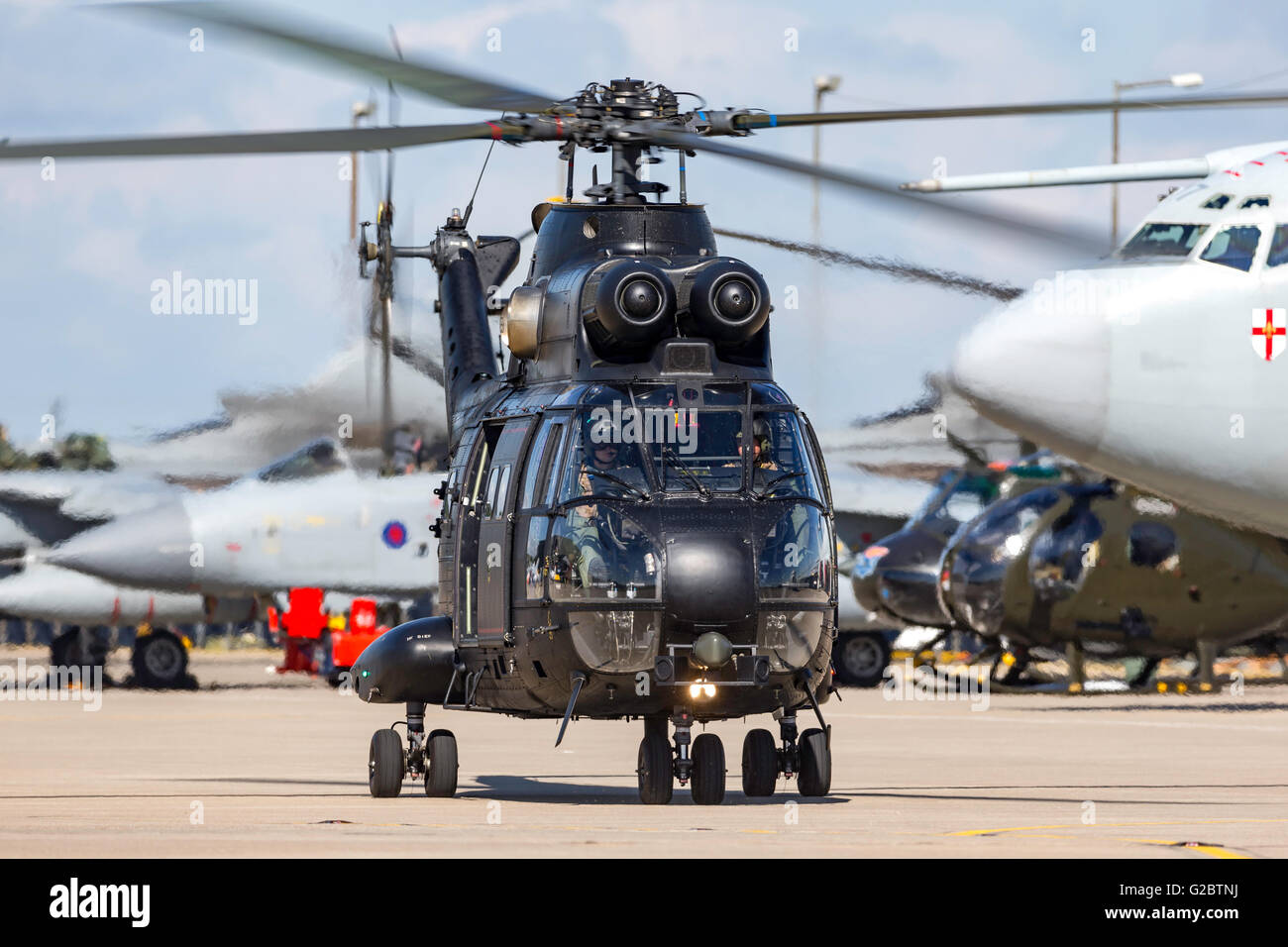 Royal Air Force (RAF) Aerospatiale (Eurocopter) SA 330E Puma HC.2 Helicopter from 230 Squadron based at RAF Benson