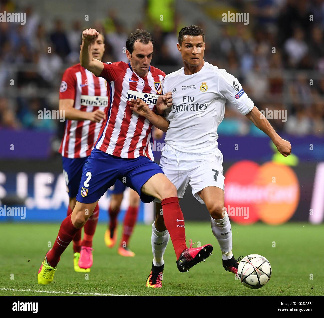 Milan Italy 28th May 2016 Diego Godin of Atletico Madrid L