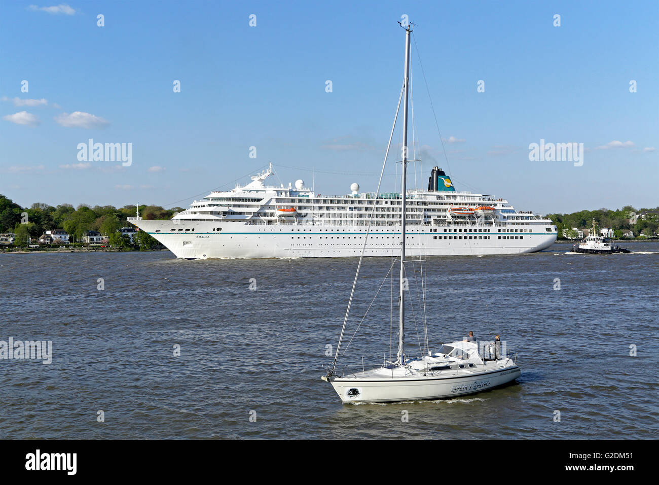 Cruise Ship Amadea Harbour Birthday Hamburg Germany Stock - Cruise ship amadea