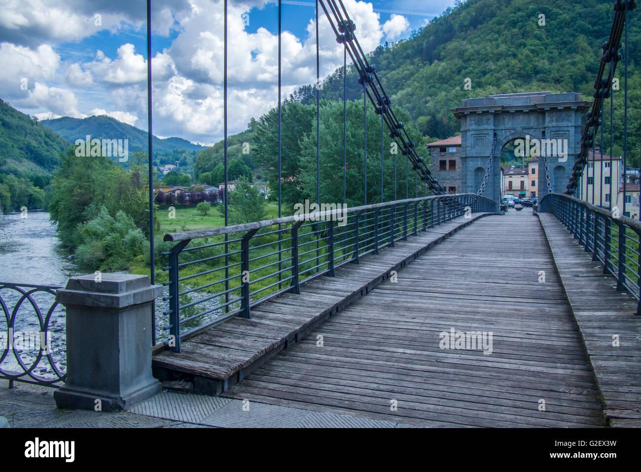 chain bridge in bagni di lucca over the river lima it links fornoli chifenti