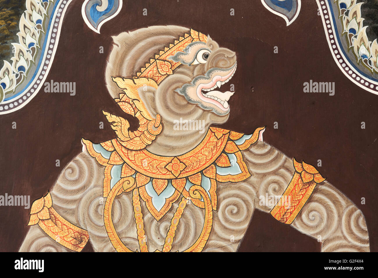 mural of hanuman the monkey god at a temple showing that rama and