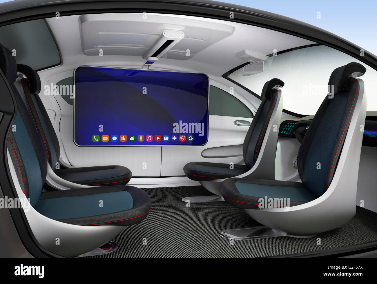 autonomous car interior concept ceiling mounted monitor help stock photo royalty free image. Black Bedroom Furniture Sets. Home Design Ideas