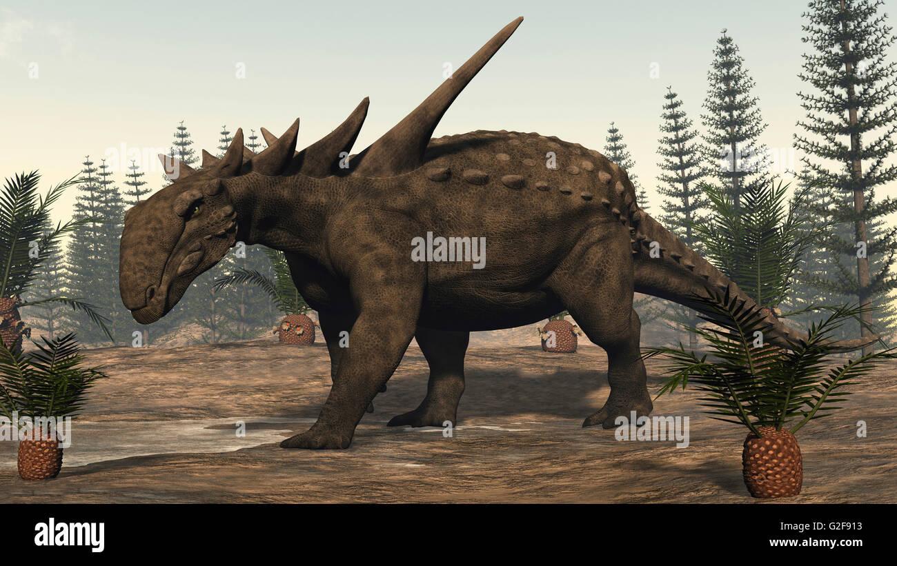 Sauropelta Dinosaur Amongst Cycadeoidea Plants And Calamite Trees