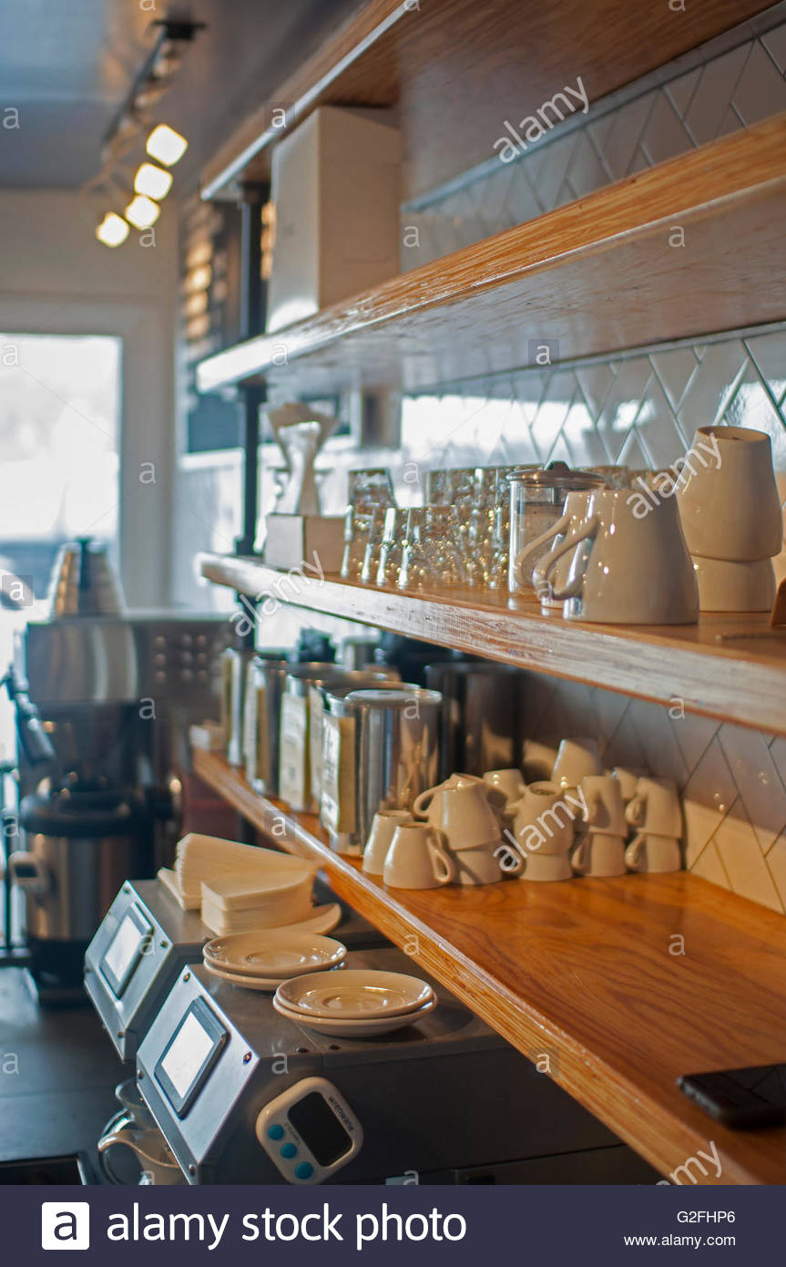 Wall of shelves in coffee shop stock photo royalty free image wall of shelves in coffee shop amipublicfo Image collections