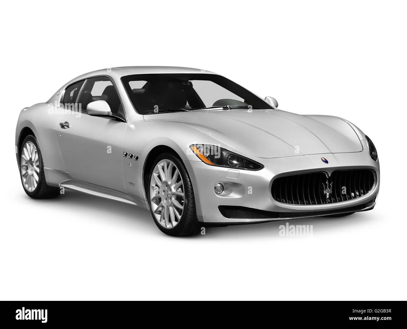 2010 Silver Maserati GranTurismo two-door coupe luxury car Stock ...