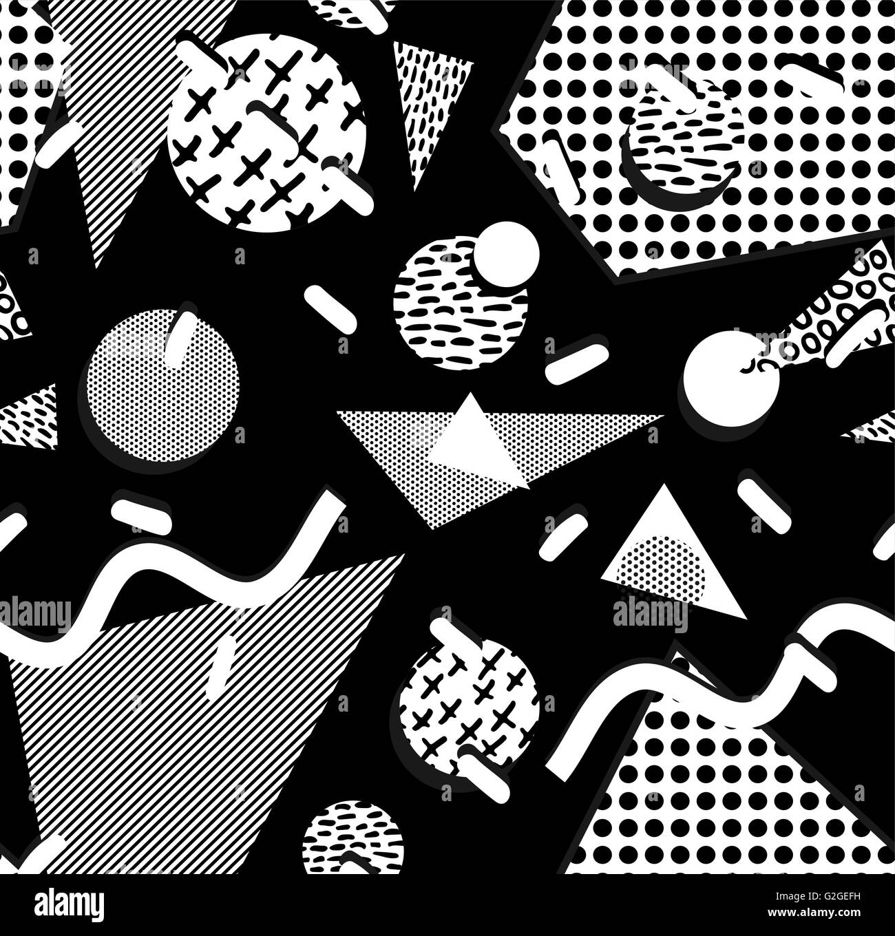 Black and white retro seamless pattern with geometric shapes Stock ... for Geometric Shapes Design Black And White  156eri