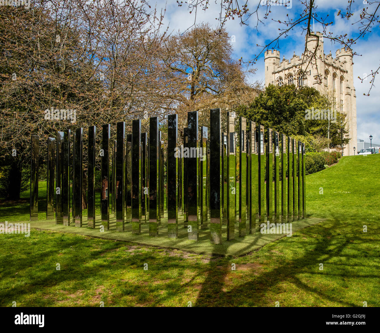 Royal Fort Gardens At The University Of Bristol With Mirror Maze And The  Keep Of The Physics Building On The Hill Bristol UK