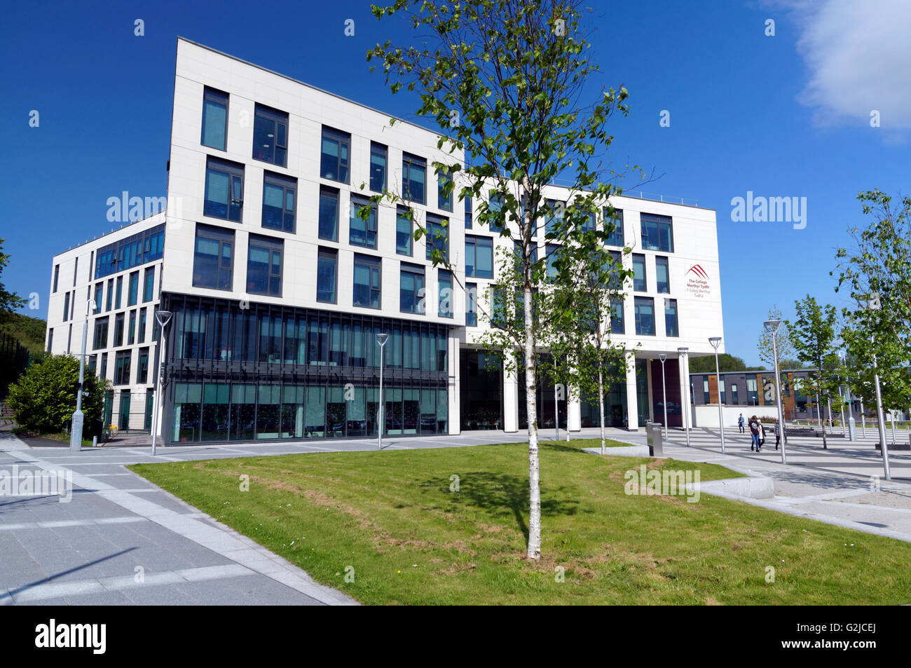The modern college building, Merthyr Tydfil, South Wales ...