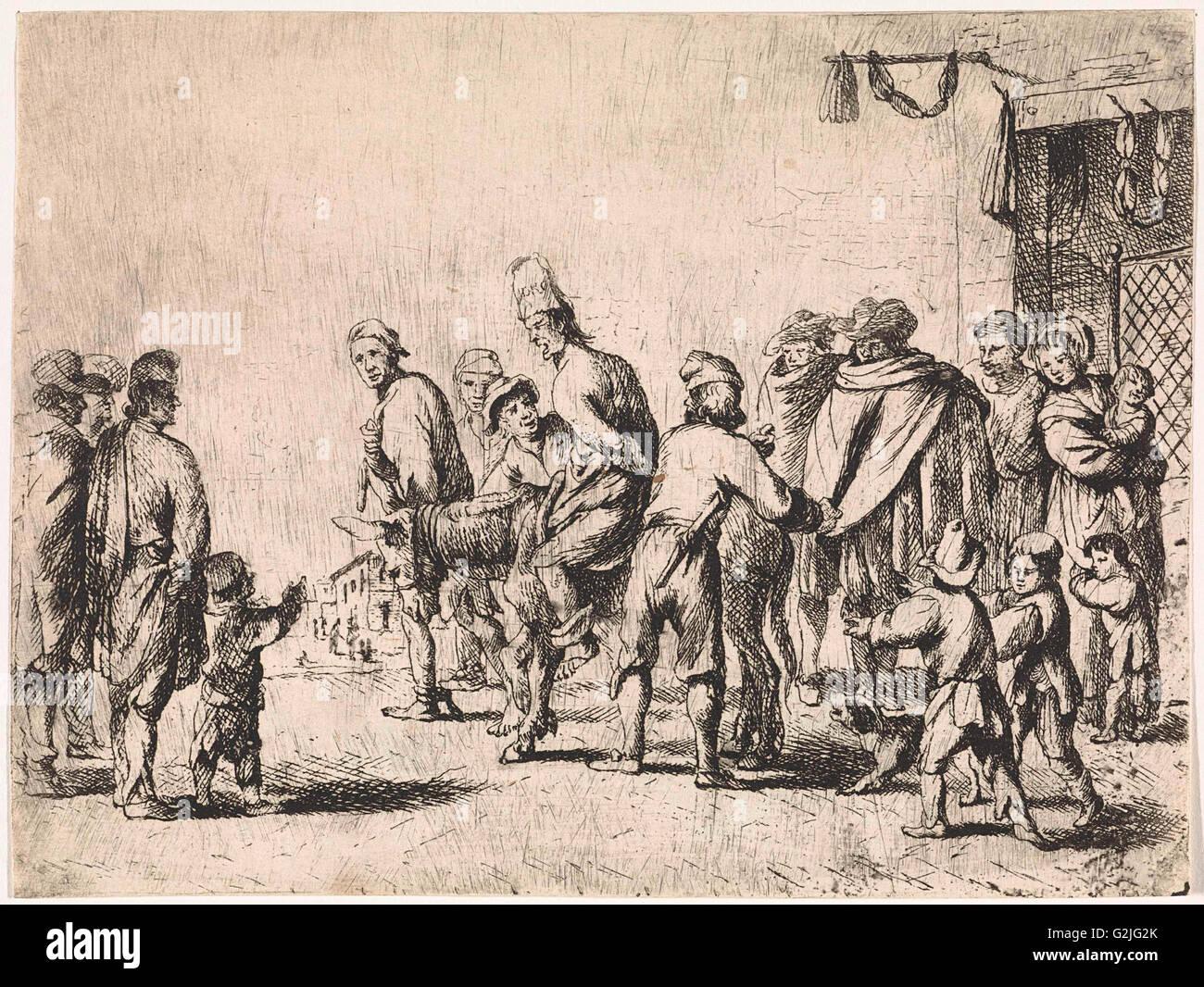 man tied up on a donkey print maker cornelis de wael 1630