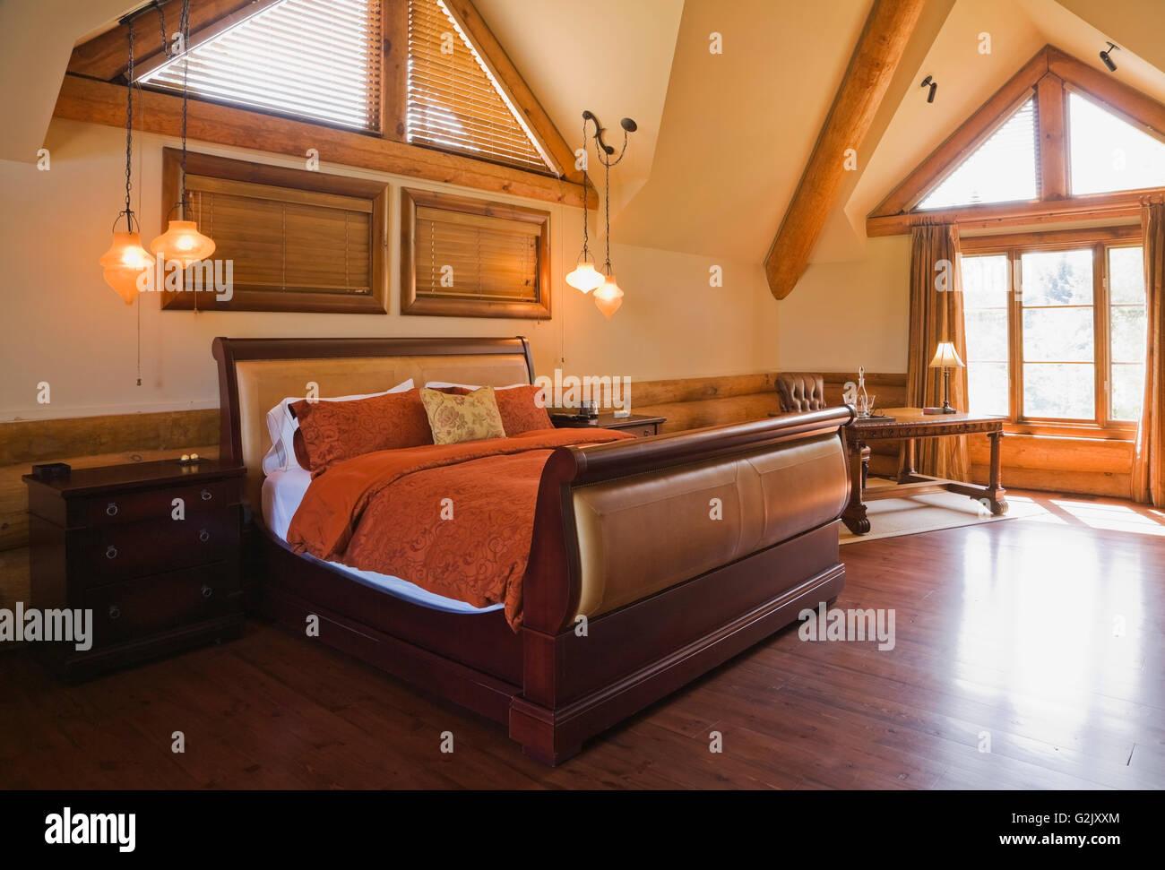 Wooden Sleigh Bed Antique Desk In Original Master Bedroom
