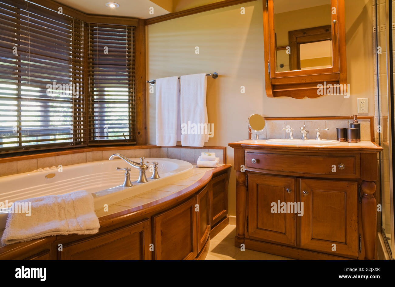Guest bedroom ensuite oval jacuzzi wooden vanity in for Bedroom with jacuzzi designs