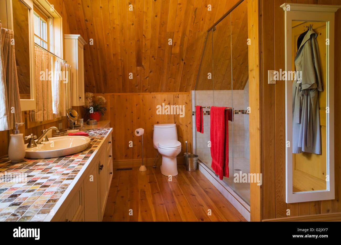 Master Bedroom Toilet master bedroom ensuite glass shower stall toilet vanity on