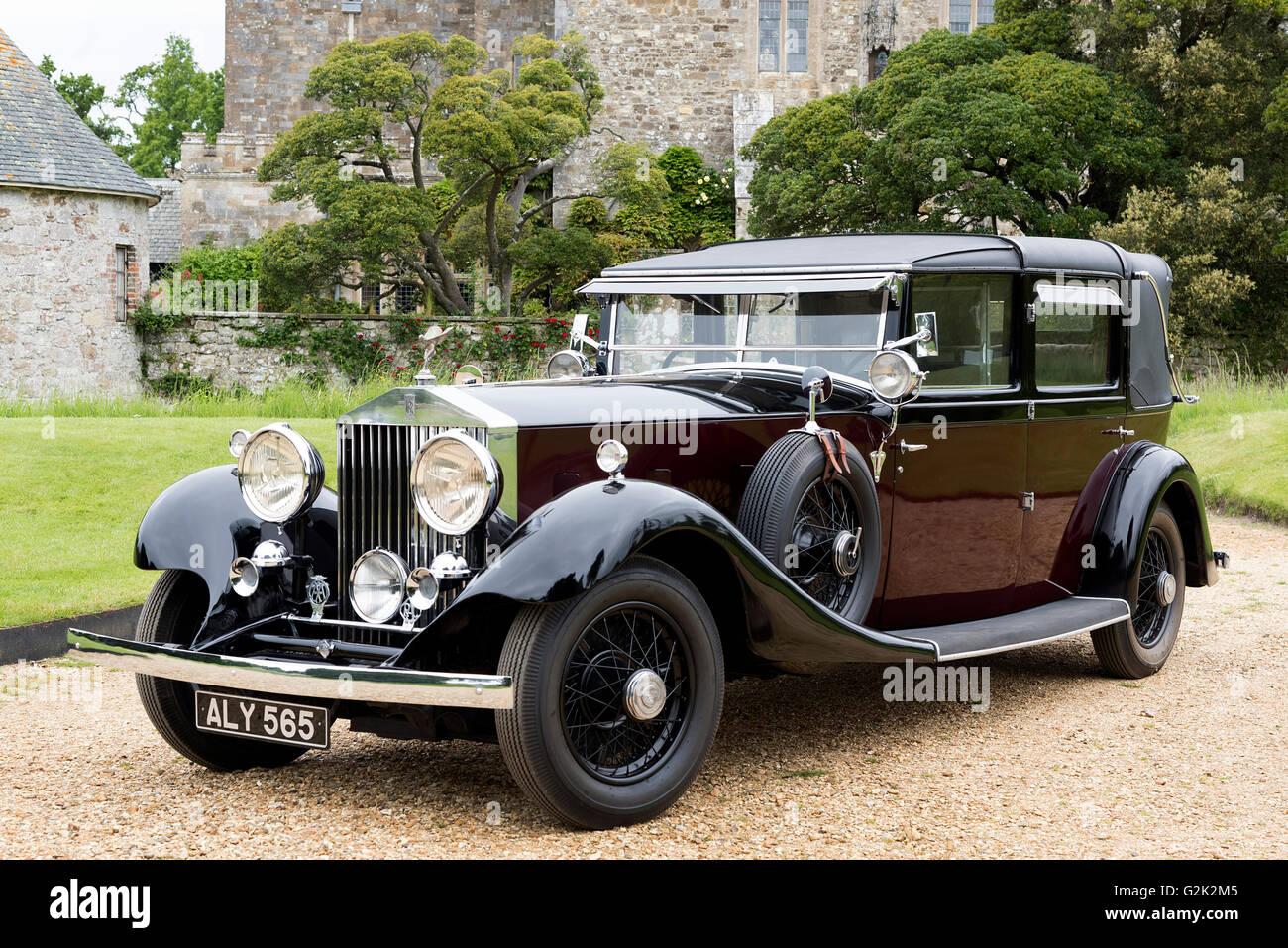 1933 rolls royce phantom ii sedanca de ville stock photo, royalty