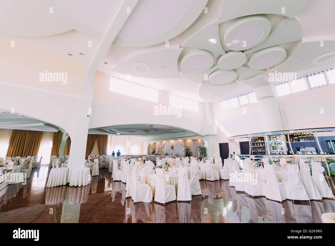 Banquet Hall With Fancy Ceiling Set For Wedding Or Another Formal Event