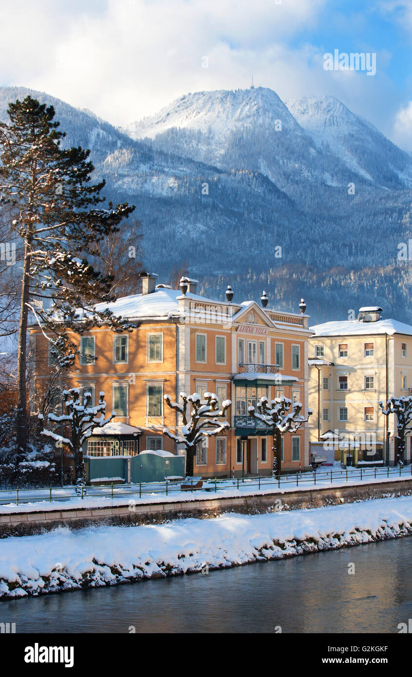 austria bad ischl lehar villa at traun river in winter stock photo 104921699 alamy. Black Bedroom Furniture Sets. Home Design Ideas